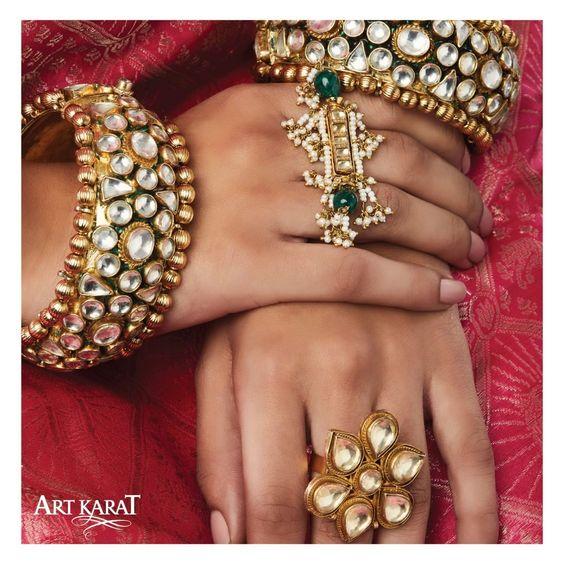 Stunning Bridal rings | Kundan kade | Unique design | Royal Jewellery | Statement Rings | Personalised |