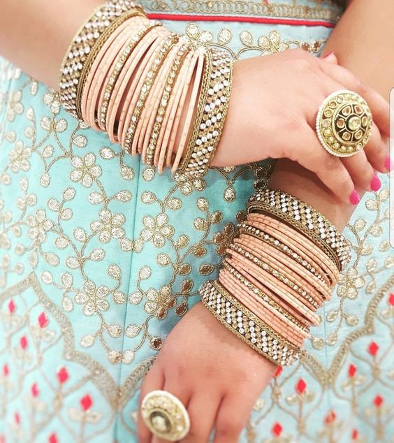 Peach metal bangles | Blue and coral | Gota patti | Bridal Photos | Statement rings |