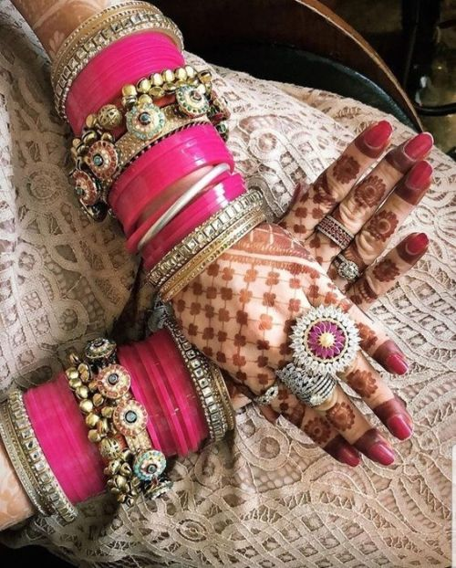 Pink chura | Pink chooda | Luxury | Silver jewellery | Pretty in Pink | indian Bride