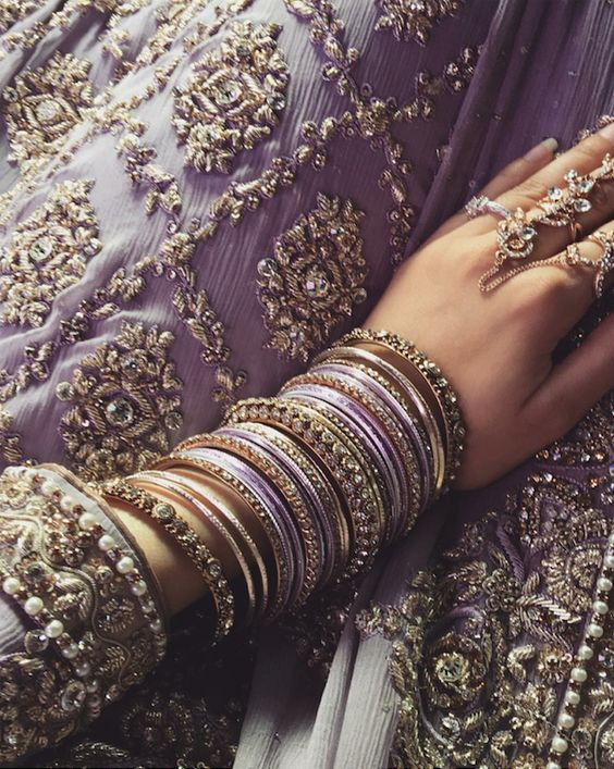 Lavender wedding dress | intricate embroidery | Purple bangles | Lavender and gold | Beautiful bride | Details