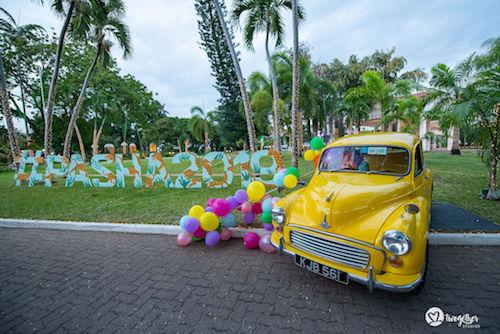 Wedding hashtags | Destination weddings in Kenya | Beach weddings | Wedding dcor | Yellow Vintage car |