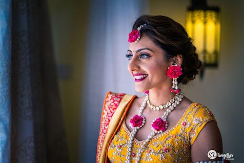 Beautiful bride in floral jewellery | Yellow lehenga | Bridal fashion | Indian Bridal look |