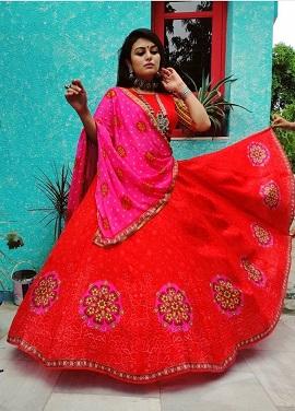 Red and Pink lehenga | Ghaghra choli | Navratri | Garbha | Color combinations