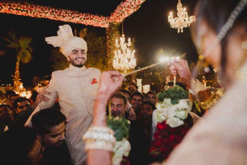 Varmala time   Bride and Groom   A dreamy wedding of Priyanka and Parth in Udaipur