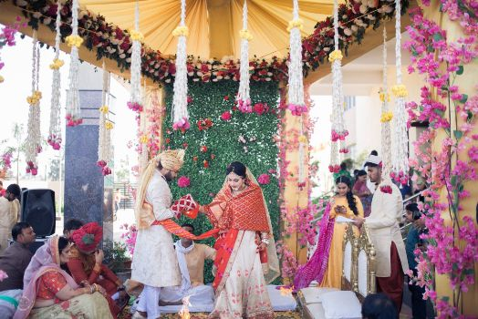 bride and groom during phera ceremony