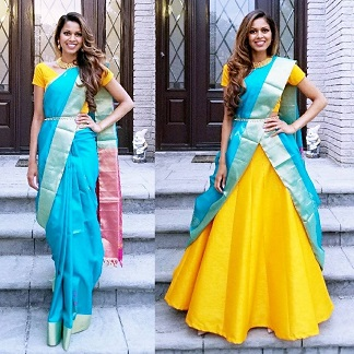 Yellow and blue saree | Saree draping ideas | Indian fashion | Trending new ideas | Indian fashion | Desi Girl