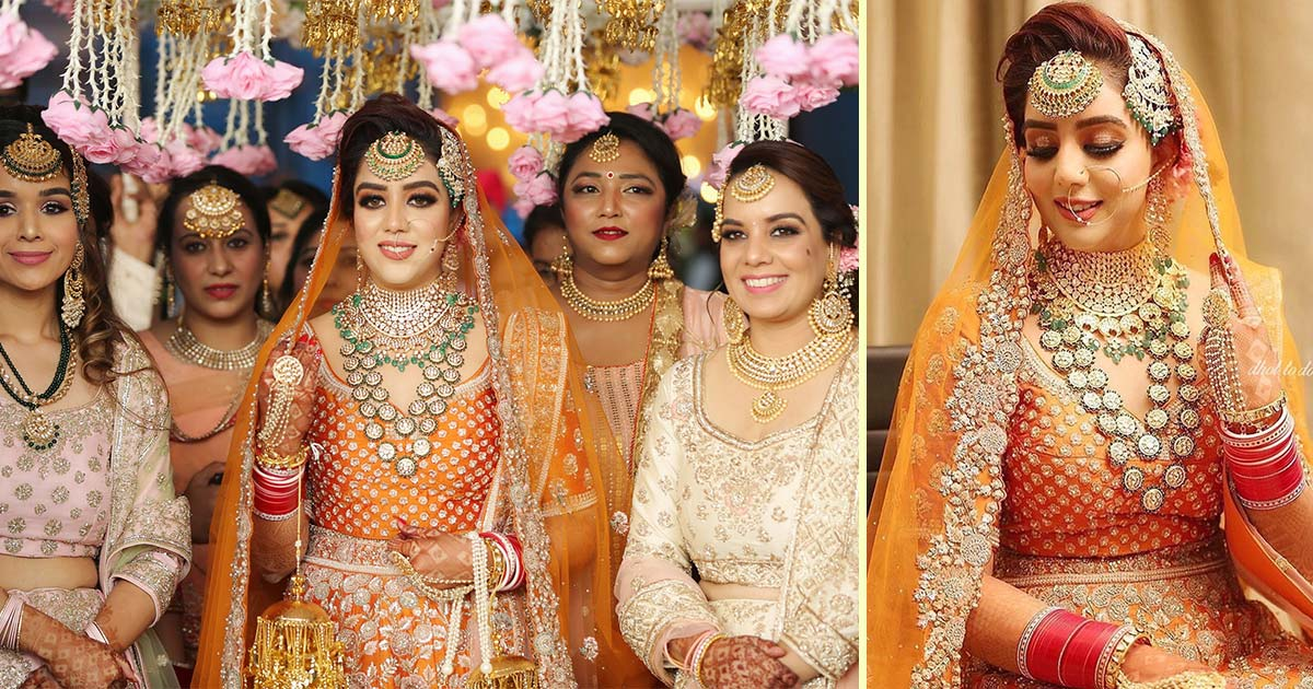 orange lehenga | Sukhna wedding | Chandigarh wedding