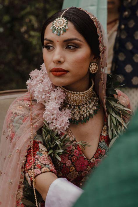 bride Riya looks damn preety in sabyasavhi lehenga | a stunning wedding in california