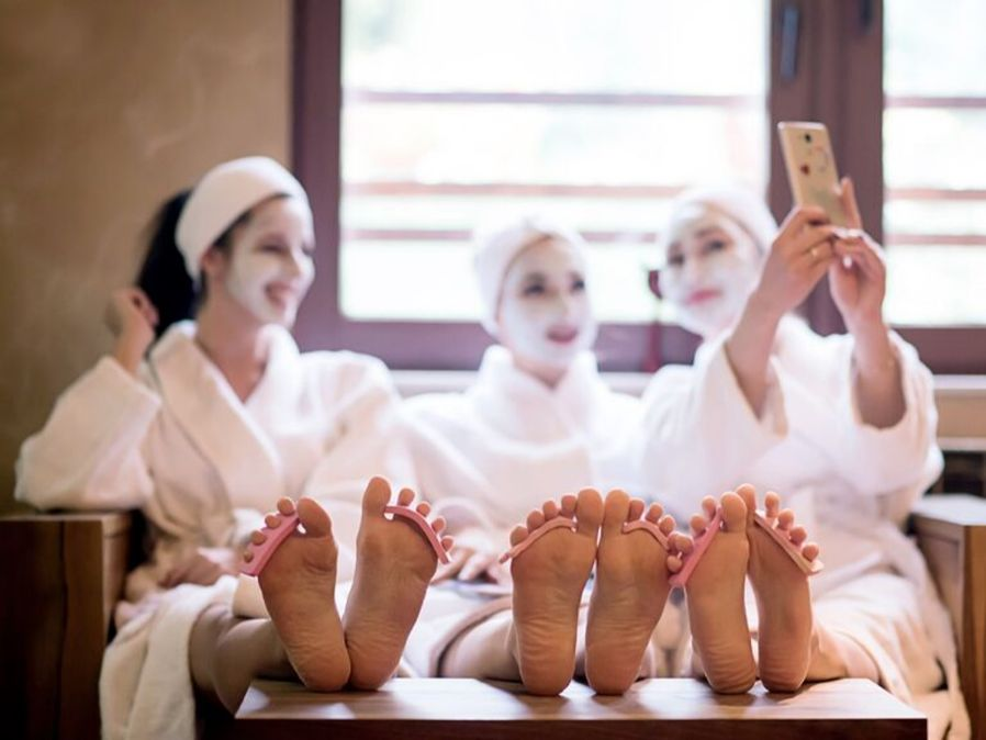 girls enjoying on spa | relaxing mode on | destination ideas for a bachelorette party