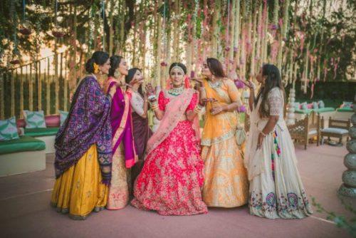 bride and bridesmaids photoshoot ideas | Indian wedding photography