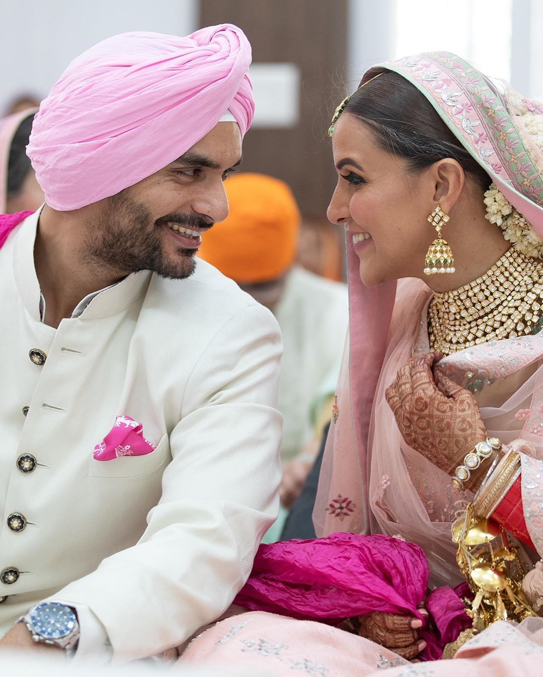 (c) Ashish Parmar | neha dhupia agad bedi wedding | pastel lehenga | pink lehenga