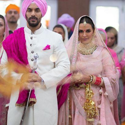 Lehenga Colour trends | neha dhupia bridal look | latest pink bridal lehenga | indian sikh wedding | pastel wedding | inidnan wedding with pastel decor | pastel lehenga for inidan brides