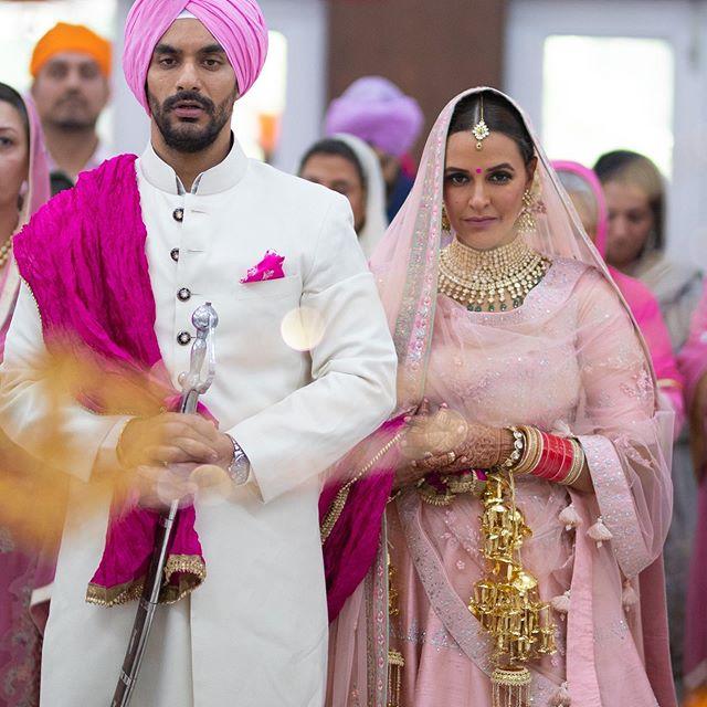 neha dhupia bridal look | latest pink bridal lehenga | indian sikh wedding | pastel wedding | inidnan wedding with pastel decor | pastel lehenga for inidan brides