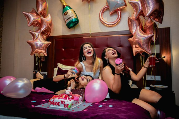 bride to be and bridesmaids having some fun | BACHELORETTE:  The Friends Way