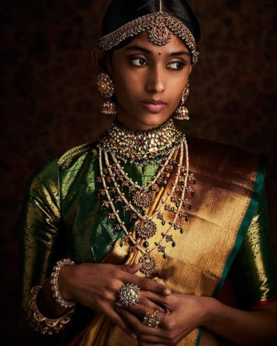 kishandas and company - three string layer Kundan haar with pearl and emerald detailing