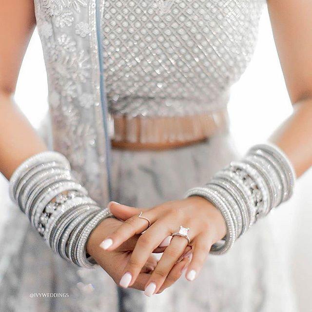 Diamond Engagement Rings , indian bridal jewllery , solitaire ring for indian brides , round diamond ring for indian brides , Diamond Engagement Rings, silver lehenga , bridal lehenga for pastel brides #wittyvows #indianweddings #indianbrides