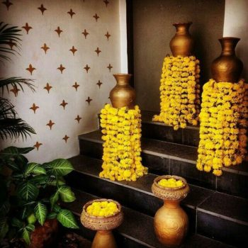 marigold floral wedding decor at your home for indian weddings at 2020 | decorations for inidan wedding 2020| decoratons to do at your home during wedding floral string decor for home fucntions and indian weddings | floral decorations for indian weddings at home 2020 | decor ideas to diy at home for weddings | mehendi function #mehendidecor #diydecor indian wedding decor for home fucntions | wedding decor ideas for home wedding due to corona #decorideas #wittyvows #indianwedding #homeweddings #housewedding #indianbride  | diy floral decorations at yiur entrance