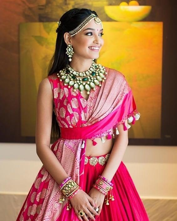 Polki Jewellery necklace designs | pink lehenga | indian bridal jewllery