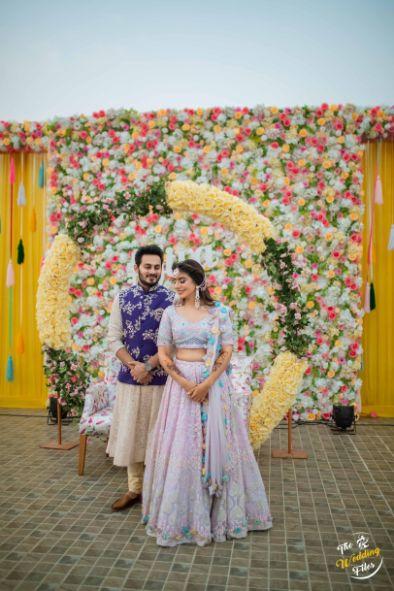 bride and groom couple photoshoot ideas | bridal lehenga designs