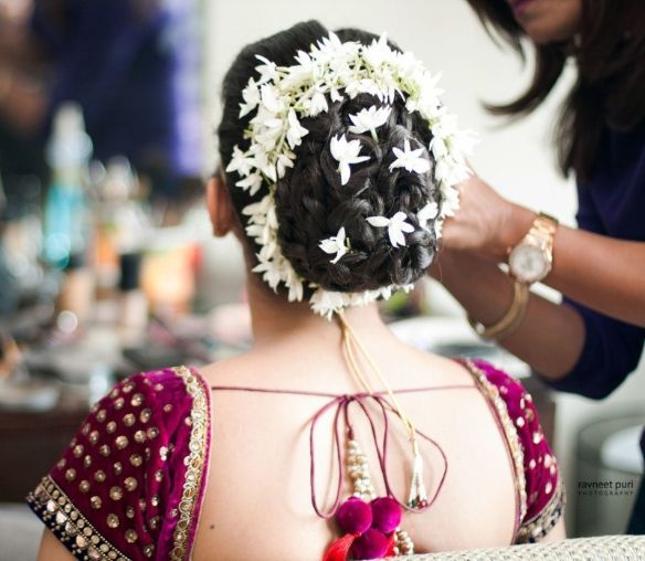 beautiful hairdo of our Indian bride