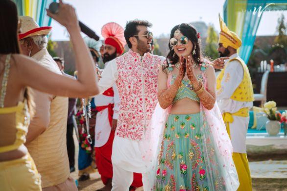 indian couple enjoying at their wedding