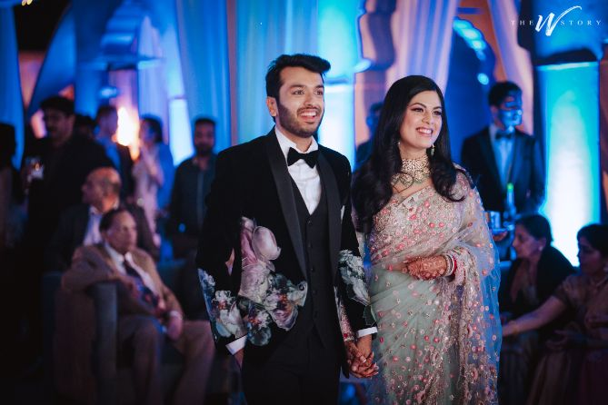 bride and groom reception look \ newly wed couple | Destination Wedding in Jaipur