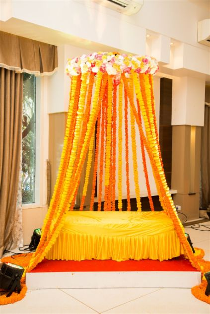 marigold swing decor ideas for bridal seat