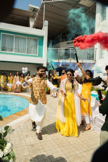 couple entry on haldi day