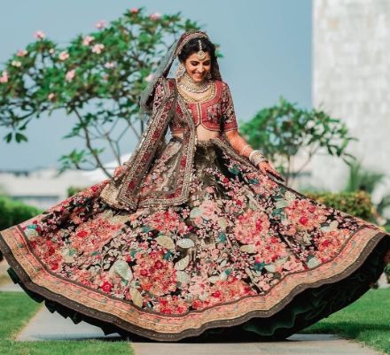 floral print lehenga in black | Super Unique Sabyasachi Lehengas