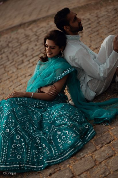 stunning lehenga in hues of blue for the bride