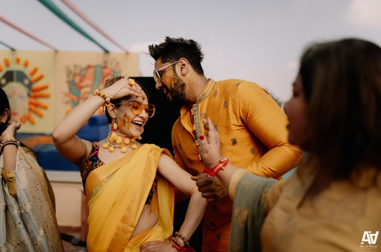 sonia and akshit's ahaldi ceremony | Fab Matching Outfit Ideas