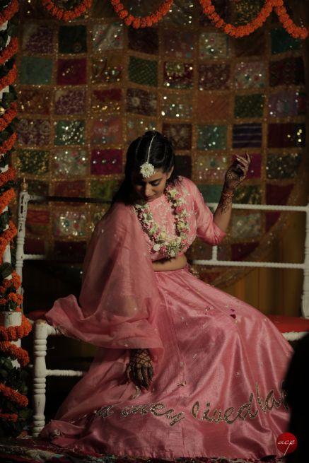 mehendi poses for an Indian bride   Modern Customised Lehenga Embroidery