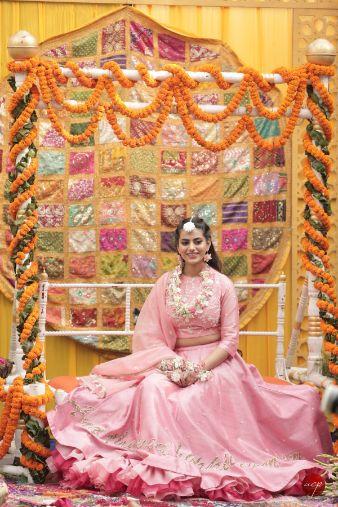 bridal mehendi seat | Modern Customised Lehenga Embroidery