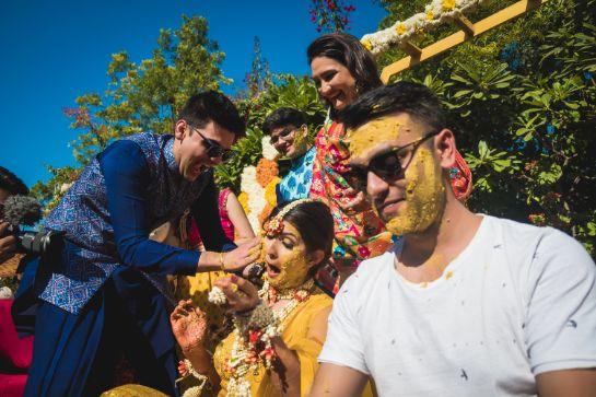 bride and groom's haldi ceremony