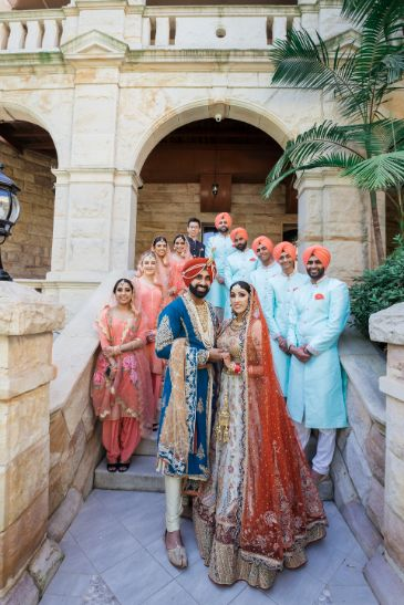 photo with bridesmaids and groomsmen   sikh couple   Cutest Surprise Proposal Ideas