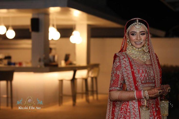 indian bridal portraits | Bride in Anita Dongre Lehenga