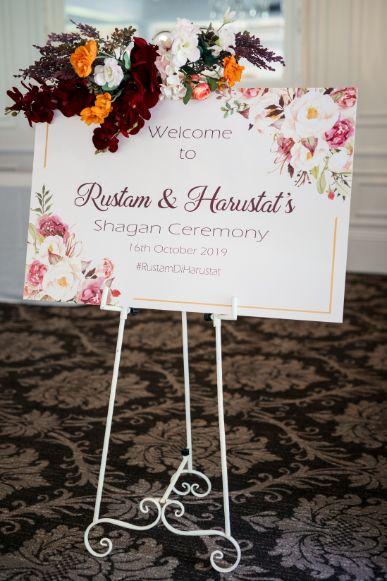 sagan ceremony | sign board at indian weddings