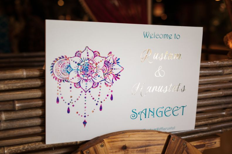 sangeet ceremony   sign boards at Indian weddings
