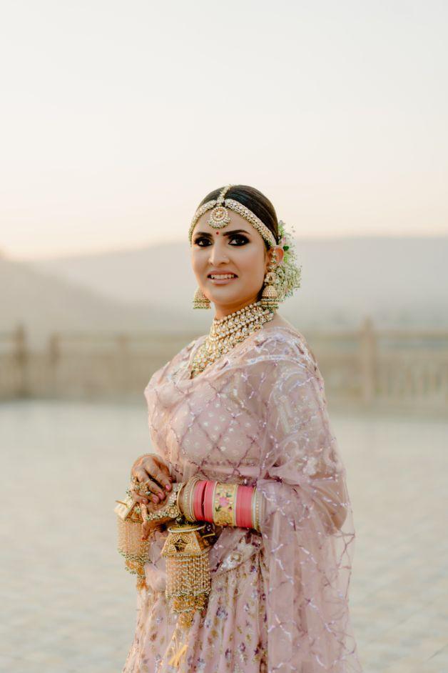 indian bridal makeup and jeweelry ideas | pink chooda | Fun Jaipur Wedding