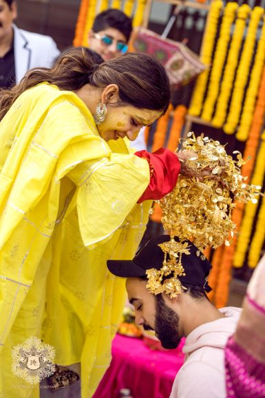 kaleera ceremony   indian wedding rituals   Mirror Work Lehenga for Mehendi