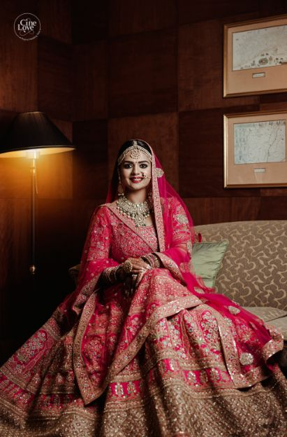 beautiful indian bride in red lehenga | Gorgeous Sabyasachi Lehenga in Pink - Delhi Wedding