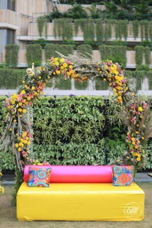 mehendi seat for the bride | seat decor ideas