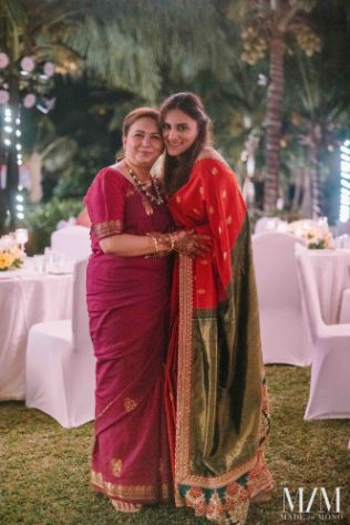 indian bridal photo with her mother