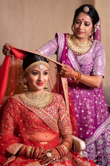 mother of the bride | indian bride getting ready photo shoot