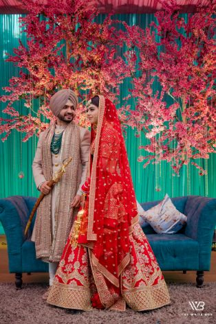 stunning red sabyasachi lehenga for the bride
