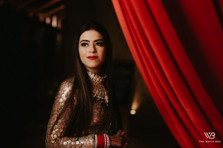 makeup ideas for indian bride | Sabyasachi Saree in Gold Sequins