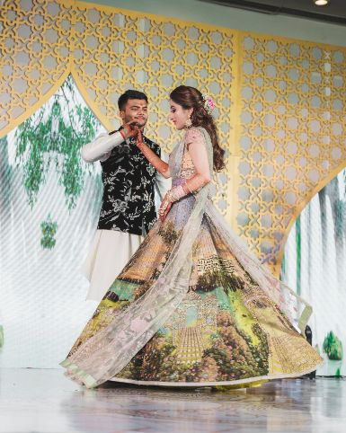 couple dance ideas   decor golas   Printed Lehenga  & a Gorgeous Off Shoulder Blouse - Megnha & Devansh