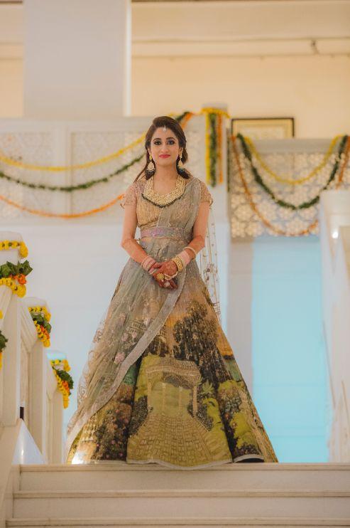 stunning bridal outfit | printed lehenga | Printed Lehenga  & a Gorgeous Off Shoulder Blouse - Megnha & Devansh