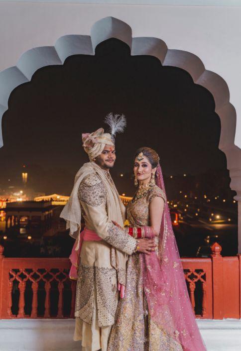 indian couple   wedding day portrait