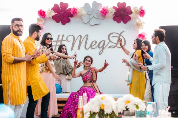 bridal mehendis seat | indian wedding photos | Printed Lehenga  & a Gorgeous Off Shoulder Blouse - Megnha & Devansh